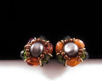 Beaded Earrings-Vintage/marked W Germany