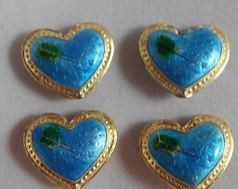 4 Beads - Cloisonne Blue Heart Beads