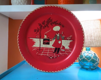Vintage 1950s MID Century Red Metal Stoyke BBQ Cookout Grill Picnic Metal Wall Tray