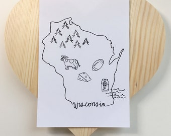 Wisconsin Print - 5 x 7 // Beer, Cheese, Midwest, Packers, Green Bay Packers, Milwaukee, Madison, Up North, Lake Michigan