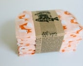 Organic Cloth Wipes - Cloud9 Flannel Cloth Wipes - Organic Wipes - Double Layer -  Fox Print - Choose your Quantity & Size