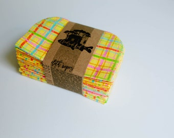 Cloth Wipes Diaper Bag Wipes Sustainable Baby Wipes - Set of 20 - Yellow Stripe