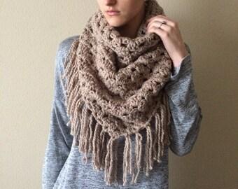 Knit Blanket Scarf, Chunky Knit Triangle Fringe Shawl Scarf / Crochet Oversize Bandana Cowl / Taupe Brown / Vegan Yarn