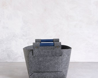 large storage basket felt storage bin gray storage box modern home decor