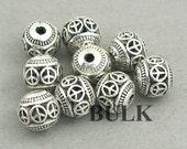 Hollow Round Ball Beads Peace Sign BULK order Antique Silver 24pcs zinc alloy beads 8mm BD0055S