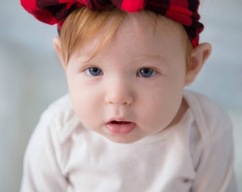 Red and Black Buffalo Plaid Top Knot Jersey Spandex Headband for Babies, Toddlers, Girls and Adults, Photo Prop