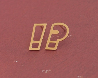 Gold Punctuation Earrings , Question And Exclamation Mark Studs , Geekery Jewelry