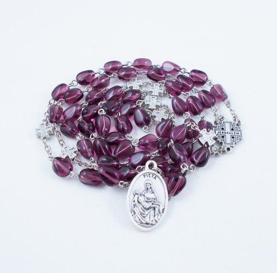 Seven Sorrows Rosary, Vintage German Glass Beads in Amethyst Purple - Our Lady of Kibeho Devotion - Pieta Medal - Our Lady of Sorrows
