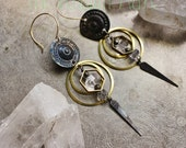 GOLD Geometric Herkimer Earrings- Brass Hoop and Pyrite Alchemy Earring Collection