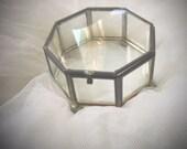 Vintage Octagon Glass jewelry box, Glass jewelry box