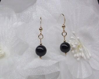 Black Onyx Earrings Gold Dangle Earrings Ball Post Earrings Solid 14k Gold Earrings or Gold Filled Gemstone Earrings BuyAny3+Get1Free