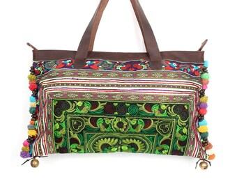 Pom Poms Handbag With Genuine Leather Strap Embroidered Hmong Fabric (BG737-GB)