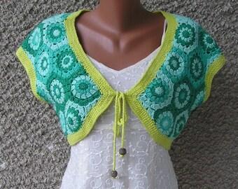 Vintage crochet LUREX bolero vest, size M