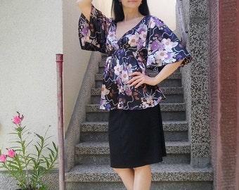 ON SALE: Vintage Floral Kimono Blouse Size L