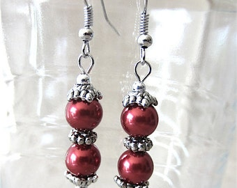 Colored Pearl Earrings, Red Pearl & Silver Star Christmas Dangle Earring, Handmade Beaded Jewelry, Holiday Colors Wedding Jewelry Pearls