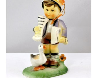 Hummel-Style Ornament - Paperboy and Duck - Hard Plastic, Vintage 1970's - Christmas Ornament, Christmas Decoration, Classic Figurine