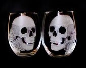 Engraved Stemless Skull and roses  wine glasses  , unique glass set , barware set of two Halloween gift ideas