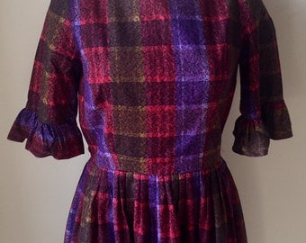 Vintage Misses' 1960s Purple Red Brown Plaid 3/4 Sleeve Dress XS 0 2