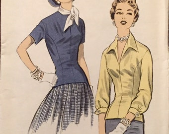 "Vintage 1950s Advance Misses' Blouse Pattern 7702 Size 16 (34"" Bust) UNCUT"