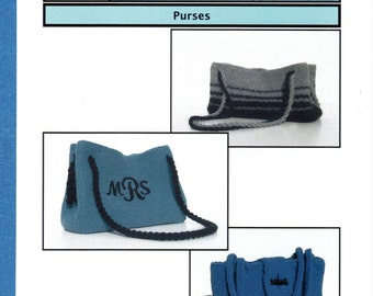 Knitted Board Pattern, Purses, 3 Styles, Loom Pattern, Knitted on a Knitting Board, Rake, Personalized, Felted & Unfelted