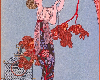 Art Nouveau Home Decor Print of Woman Looking up at Bird in Red Tree by Barbier