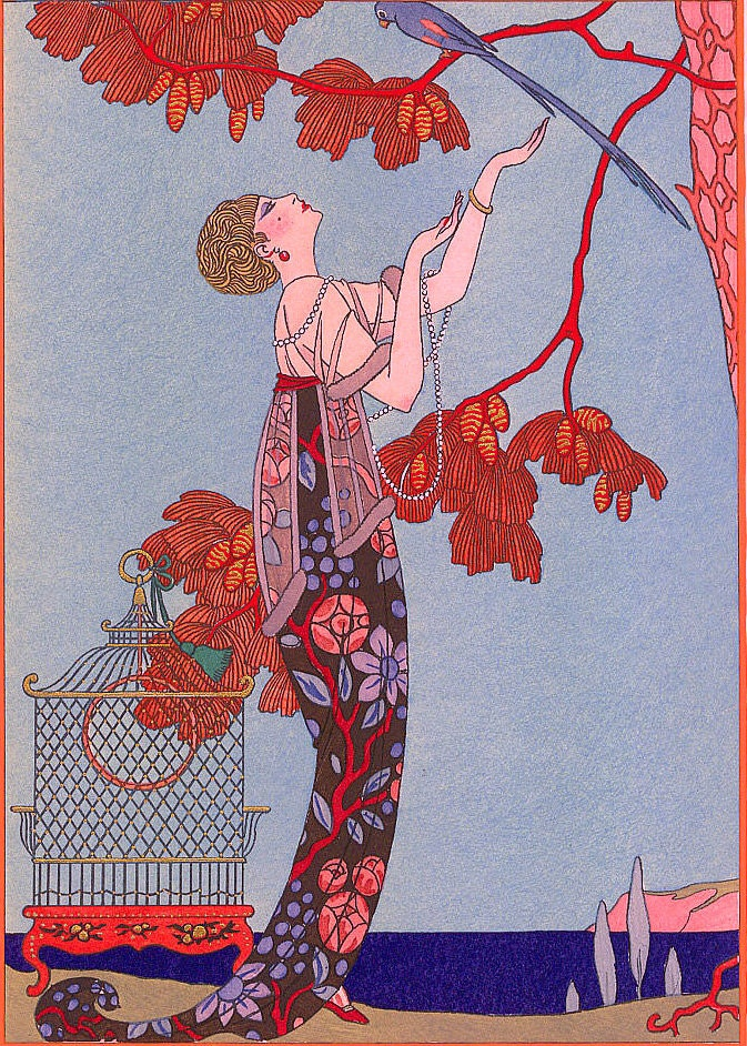 Art Nouveau Home Decor Print Of Woman Looking By ArtdeLimaginaire