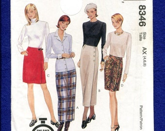 McCalls 8346 Modern Slim Kilt or Wrap Skirt Pattern Size 4  6  8 UNCUT