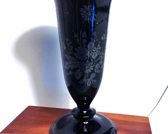 Dark Almost Black Ruby Red Glass Footed Vase with Floral Design Transfer