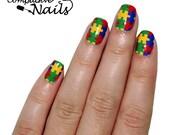 Autism Nail Wraps. Puzzle Nail Decals.