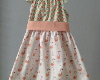 SALE: 2T Flamingo, teal and peach Peasant Dress with Flutter Sleeves and Sash, Size 2T, Ready to Ship, Spring Dress, Easter Dress, Flamingos