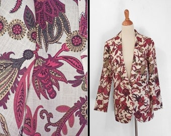 Asian Floral Blazer 1990s Requirements Red PAISLEY Size Medium Large