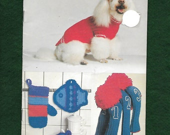 Vintage 1979 Coats & Clark Knitting And Crochet Instruction Booklet For Dog Coat, Toys, Slippers, Tote, Golf Club Covers, Kitchen Mitts +