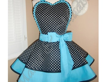Polka Dot Print Woman's Retro Apron Accented With Turquoise, Featuring Heart Shaped Bib
