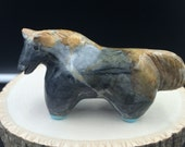Horse Totem, Zuni Fetish/Picasso marble /Hayes Leekya/Zuni Carving turquoise hooves, strength, power, healing ,artist signed