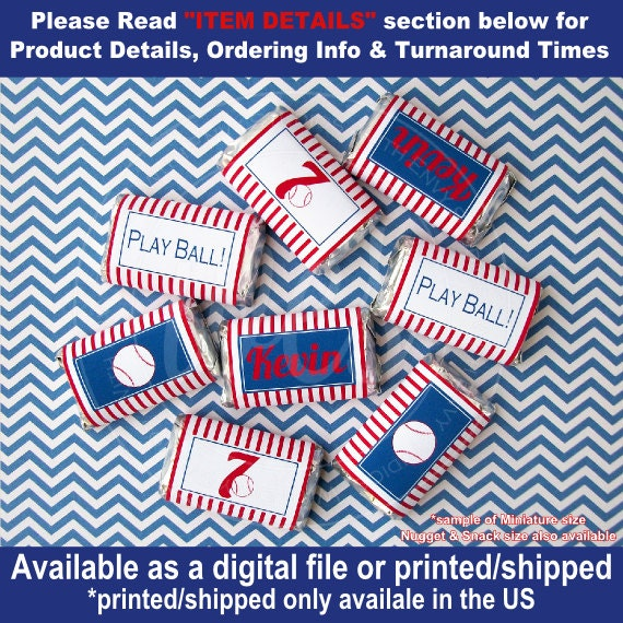 Baseball Chocolate Bar Wrappers - Baseball Candy Bar Wrappers ...