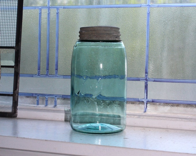 Antique Blue Ball Mason Jar Quart 1896 to 1910 Three L Logo