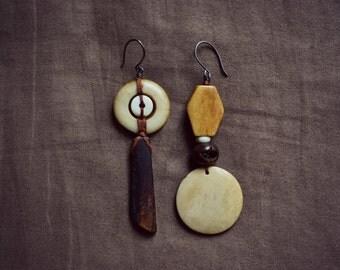 Bone Earrings, Tribal Earrings, Primitive Mismatched Geometric Earrings, Bone Jewelry, Rustic Native American Jewelry Unique Artistic