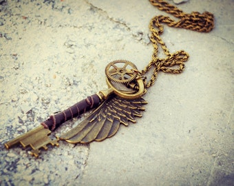 Large Skeleton Key Necklace Angel Wing Steampunk Jewelry Industrial Gear Rustic Charm