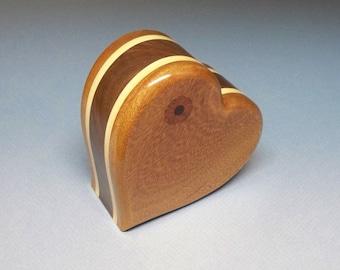 Heart Urn - Mahogany, Maple & Walnut  Cremation Urn, Cremation Urn, Unique Urn, Small Urn, Wood Urn, Heart Urn, Wooden Urn