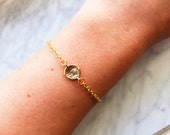 Circle charm, 14k gold filled chain bracelet-gold circle,dainty charm bracelet,gold karma bracelet,positive thinking jewelry,gold chain