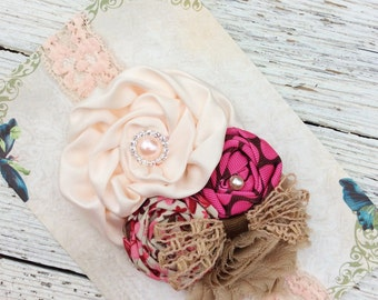 Pink peach taupe girls headband baby girl headbands chiffon flower fabric flower Vintage infant newborn rolled rosette women