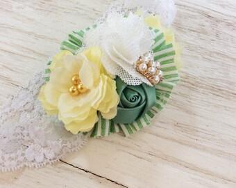 yellow green baby headband toddler headband flower headband matilda jane m2m headband fnewborn headband
