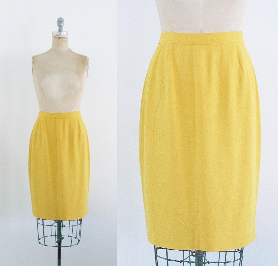 vintage lemon yellow pencil skirt mustard pencil skirt yellow