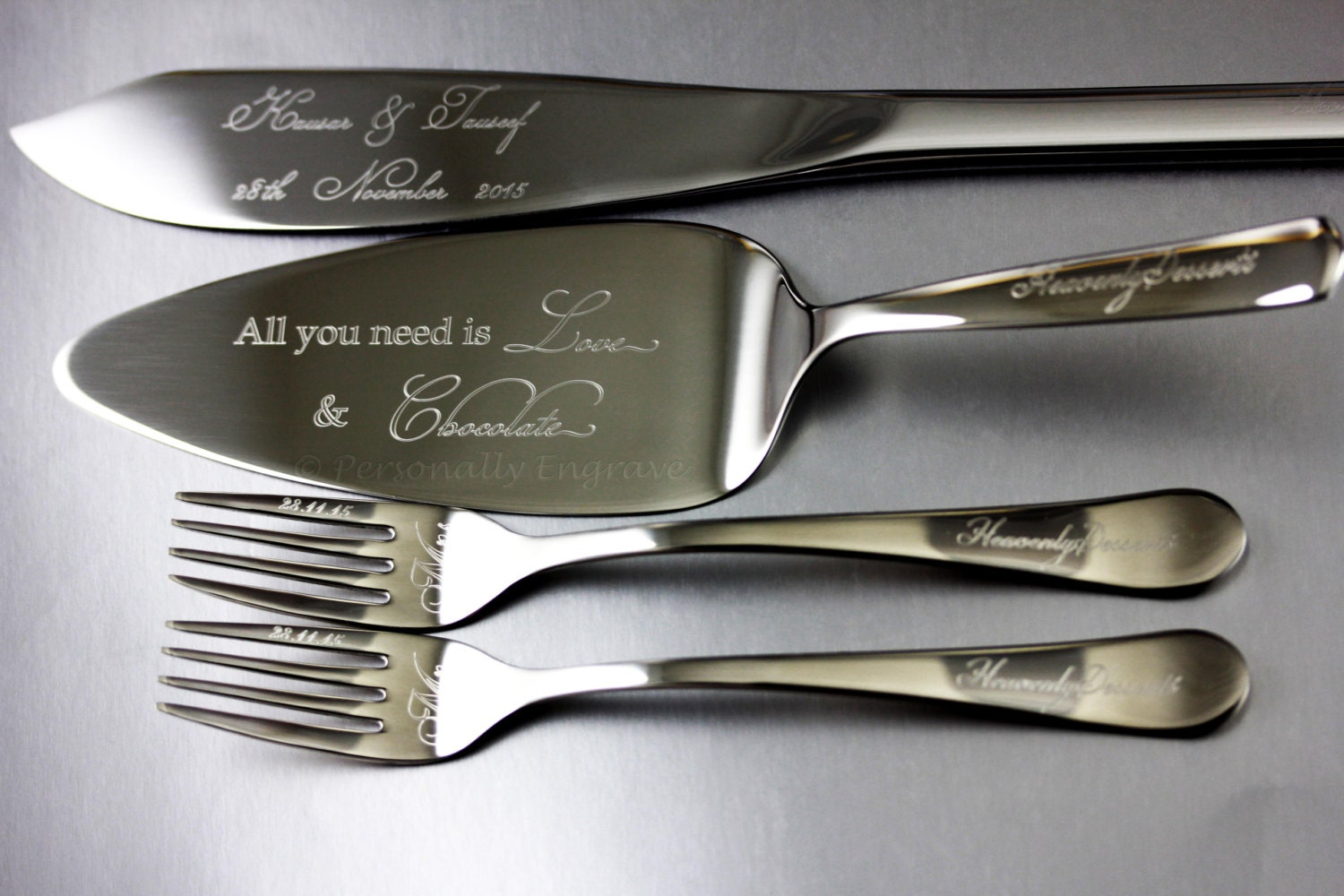 engraved wedding cake server and or knife and by personallyengrave. Black Bedroom Furniture Sets. Home Design Ideas