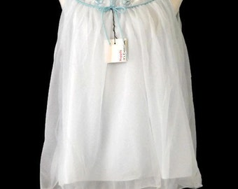 With Tags 60s Miss Siren  Two Piece Baby Blue Miss Siren Nylon Chiffon Over Lay with Matching Panty Panties Bloomers Trousseau  Size M