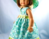 Doll Dress fits American Girl - 18 Inch Doll Clothes - Doll Sundress and Hat - Turquoise Floral and Lime Dot