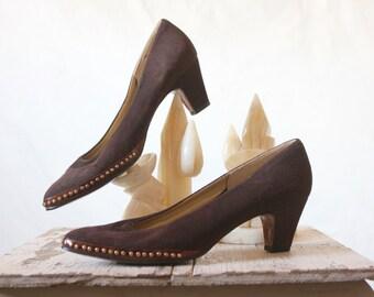 Vintage 60's Studded Chocolate Suede Heels Sz 8N