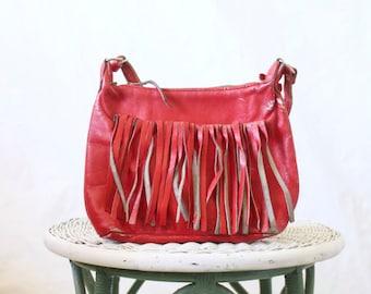 Vintage 70's Red Leather Fringe Handbag