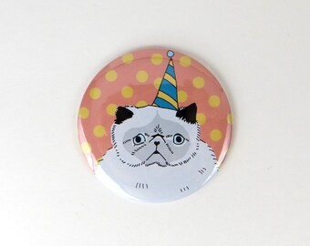 Happy birthday cat magnet, funny refrigerator magnet, cat in birthday hat magnet, pinback button