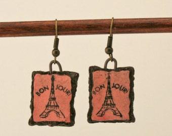 Eiffel tower earrings, paris earrings, bonjour earrings, unique earrings, ceramic earrings, clay earrings, pink earrings, handmade earrings